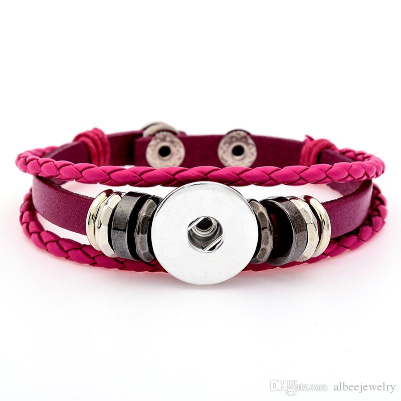Mix Colors Pu Leather Wrap Bangle Noosa Chunks Metal Ginger 18mm Snap Buttons Bracelet Bohemia Unisex Jewelry