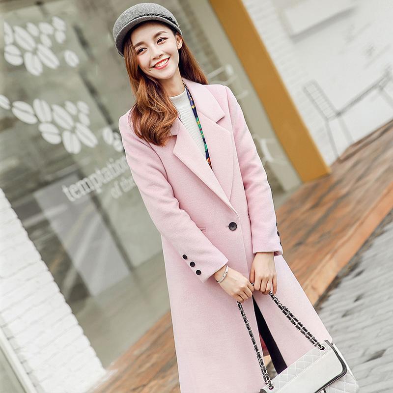 2c4c5c50a185f Winter Autumn Pink Fashion Women Light Jacket England Style Long Women Coat  Slim Suit Collar Long Style Woolen Coat