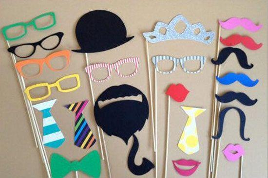 20 UNIDS Flash DIY Oro Photobooth Paper Crafts Bigote Diversión labio Feliz Cumpleaños Photo Booth Atrezzo Fiesta de Cumpleaños