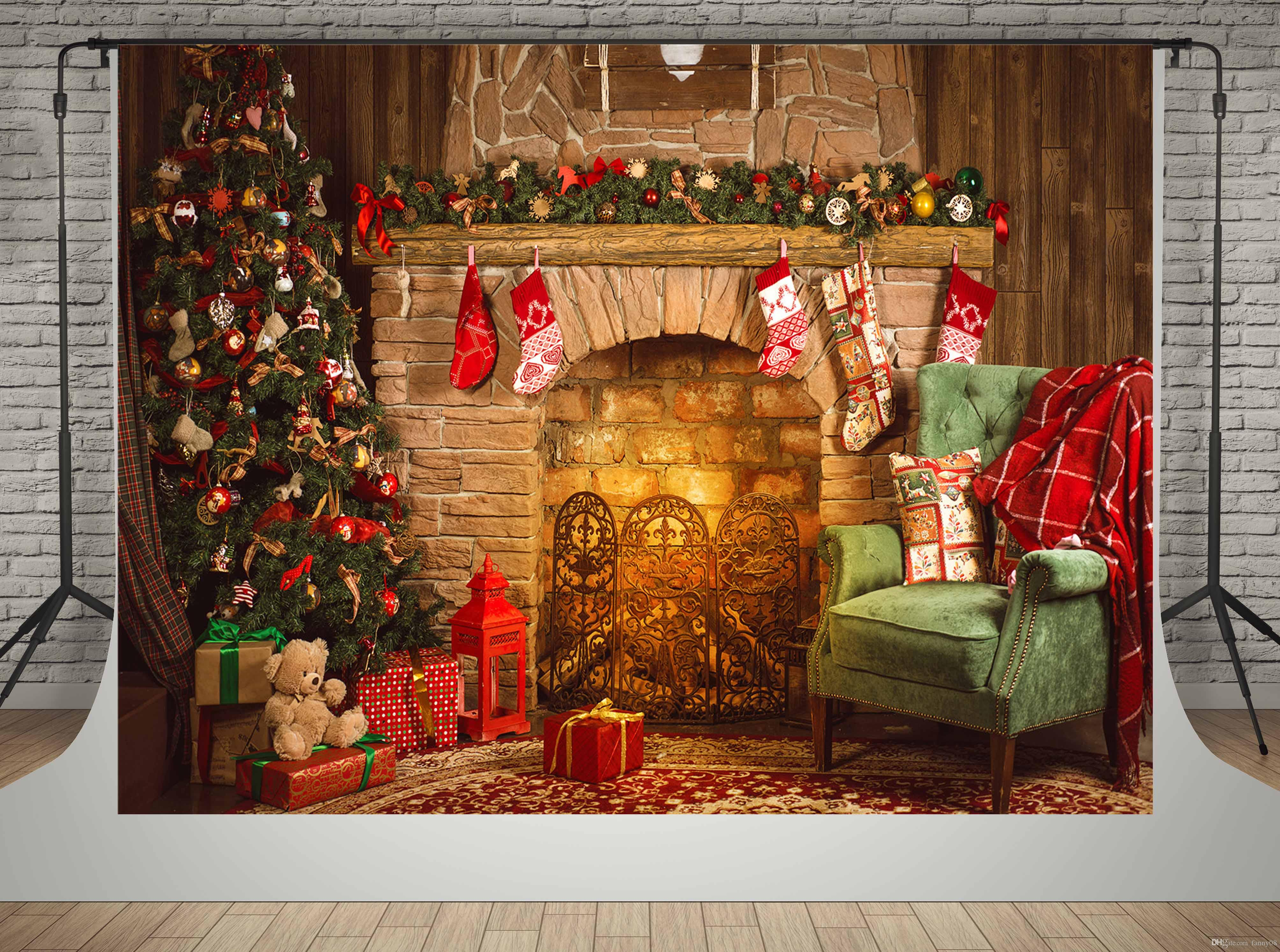 kate microfiber material backdrops for photographer brick fireplace background night christmas tree photo booth props christmas photo backdrops christmas