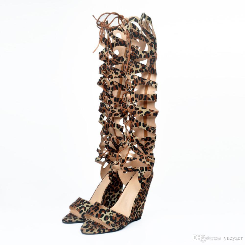 Zandina Gros Femmes 10cm Wadge Talon Genou Haut À Lacets Sandales D'été Parti Prom Chaussures Leopard XD134