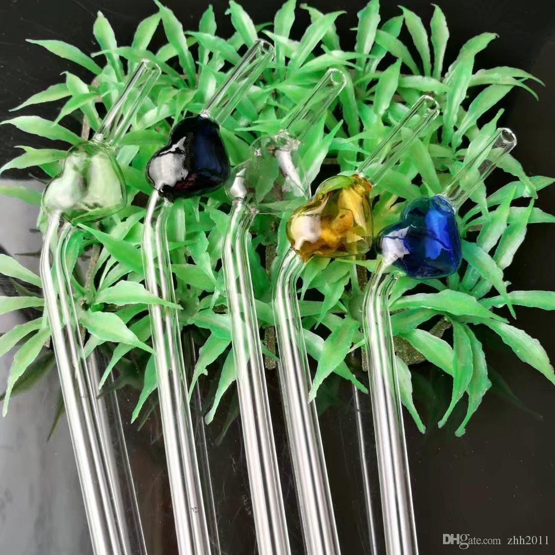Toptan renk şeftali kalp cam saman, renkli cam boru Kolu Borular Sigara Borular El Üflemeli Recycler İyi Yağ Burner