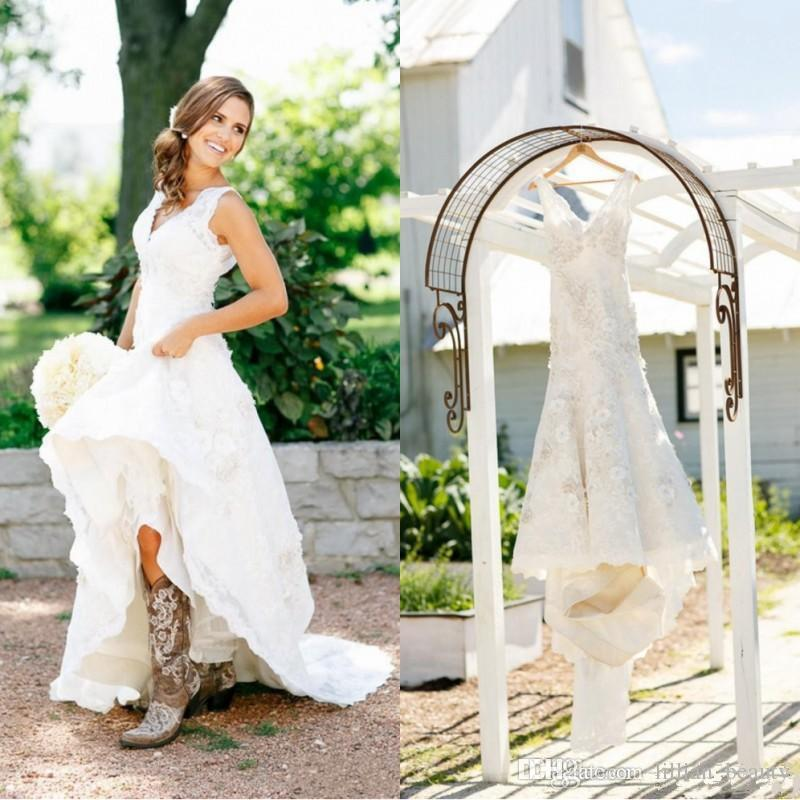 Wedding Dresses With Boots: Discount 2017 Rustic Cowgirl Boots Lace Wedding Dresses
