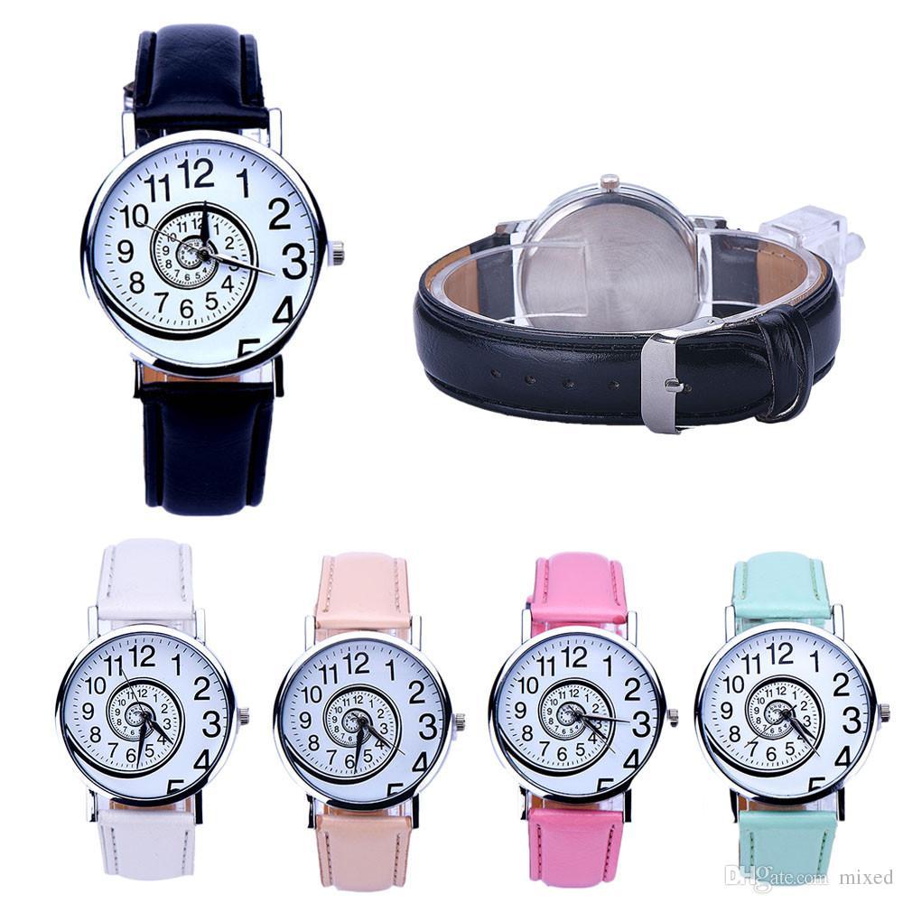 Swirl Pattern Наручные часы женские спортивные часы Повседневная кожа Аналоговые кварцевые часы оптом