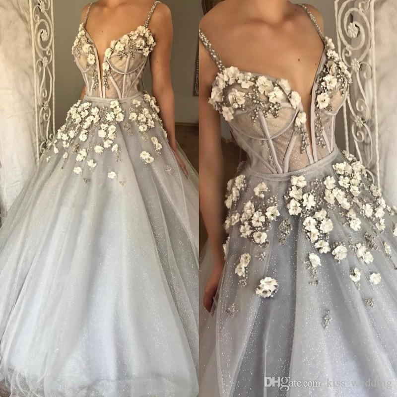 Sparkly silver ball gown wedding dresses spaghetti floor for Silver ball gown wedding dresses