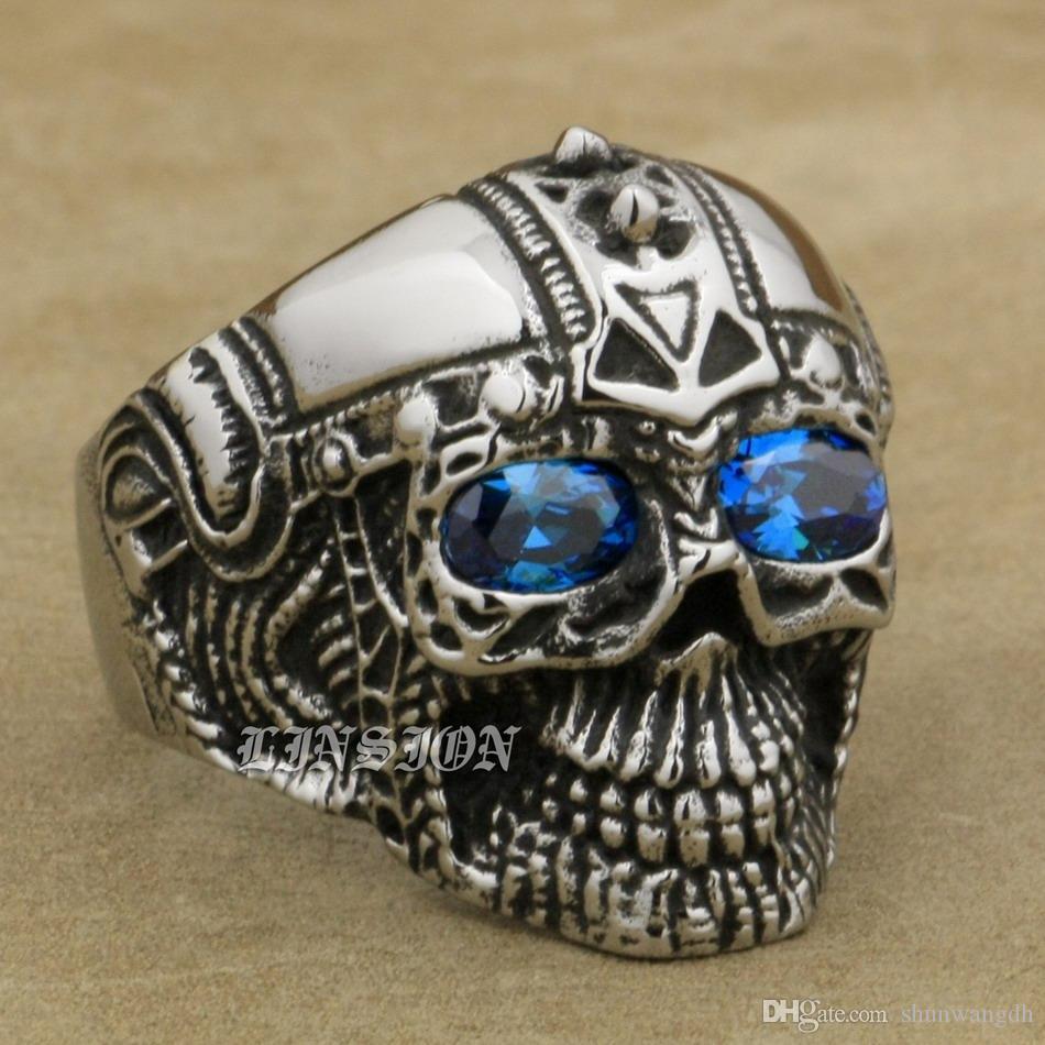LINSION Aço Inoxidável 316L Punk Rock Crânio Azul CZ Olhos Mens Anel Do Punk 4E136