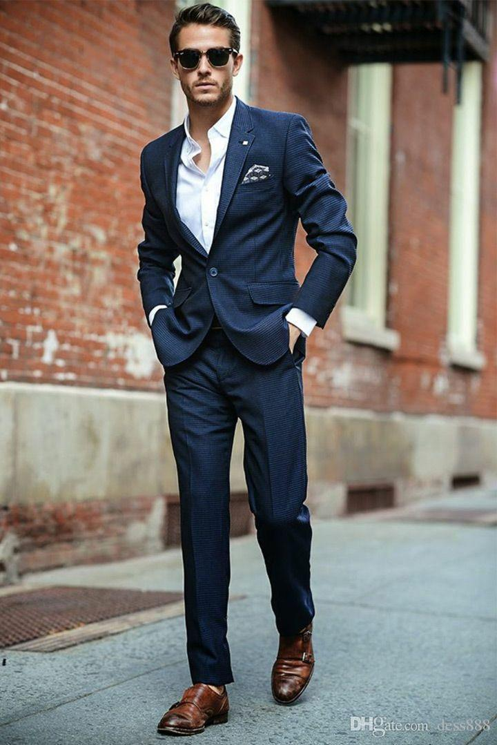 2017 Awesome Red Carpet Men Suit Slim Fit Navy Blue Wedding Suit ...