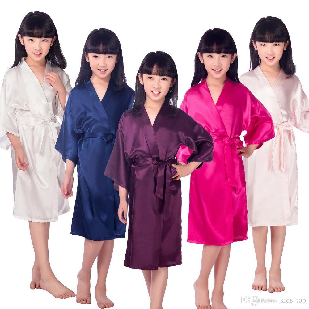Дети халат сатин дети кимоно халаты подарок подружки невесты платье девушки цветка шелковый халат ночная рубашка детский халат 6 размеров KT483