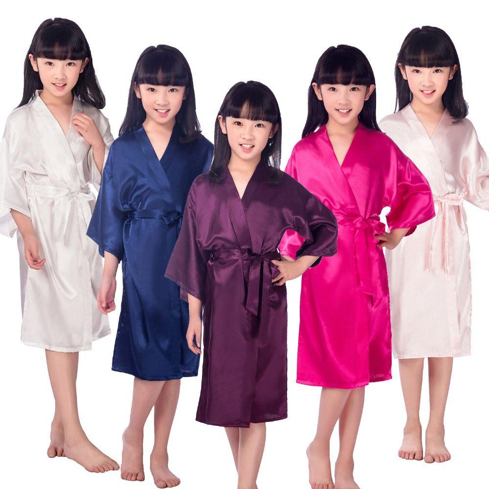 Crianças robe de cetim crianças quimono robes da dama de honra presente flor menina vestido de seda roupão de banho camisola roupão das crianças 6 tamanhos kt483