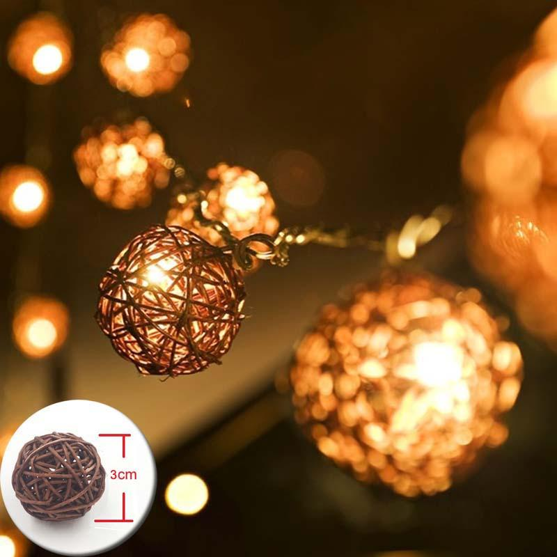 Wholesale 20 Coffee Rattan Ball Lights Battery Operated LED Christmas Lights  Garlands LED String Holiday Fairy Lights Guirlande Gerlyanda White String  ... - Wholesale 20 Coffee Rattan Ball Lights Battery Operated LED