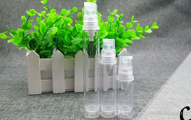 5ml 10ml Botella sin aire Loción transparente y plástica Sub-embotellado con bomba de vacío de PP Botella de suero Botella de muestra Samll y botella de embalaje