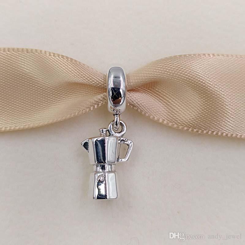 Authentique 925 perles en argent sterling Espresso Can Argent Charm Pendentif Fits Bijoux Europe Style Pandora Bracelets Collier 791514 balancent