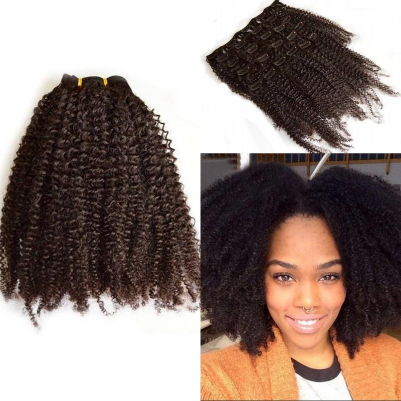 African American Kinky Curly Clip In Hair Extensions Brazilian Human
