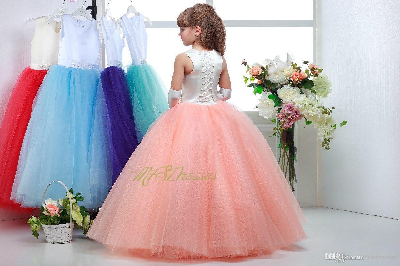 nuevo top de marfil coral / azul buttom tul vestidos de niña de las flores con cuello en v rebordear vestido de dama de honor junior niñas vestido de desfile niñas vestido de navidad