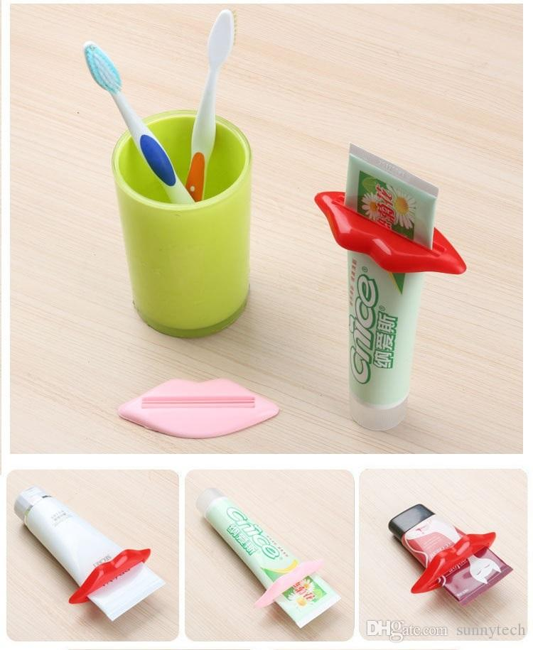 Sexy Hot Lip Kiss Baño Tubo Dispensador de Pasta de Dientes Crema Squeezer Home Tube Rolling Holder Squeezer WA1456