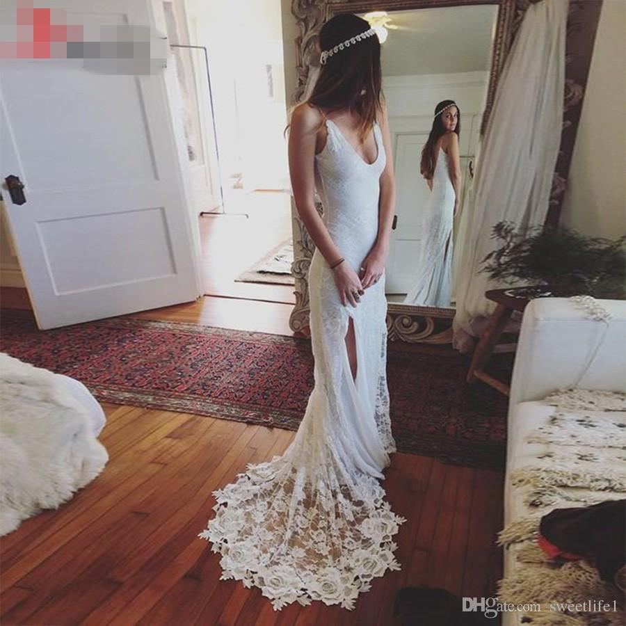 Discount Sexy Boho Lace Beach Wedding Dress V Neck Spaghetti Straps Side Slit Casual Bohemian Dresses Backless Bridal Gown Long Sleeve