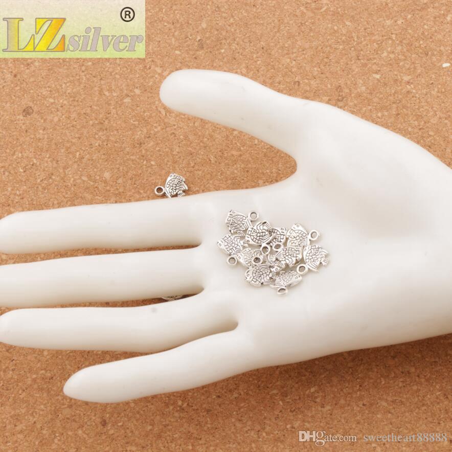 Liten fisk charm pärlor / heta antika silver hängen smycken diy L062 10.7x9.5mm