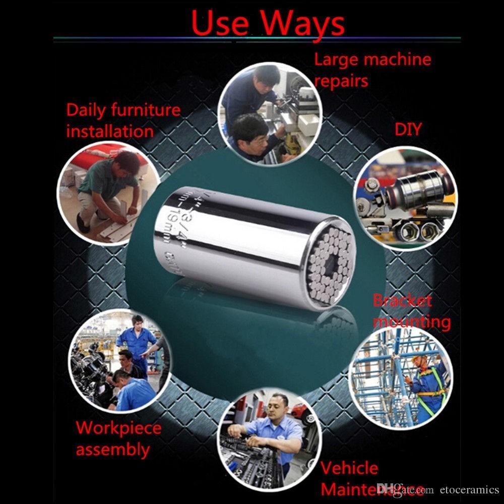 multi-fonction à cliquet prise universelle 7-19mm adaptateur de perceuse électrique voiture outil de main kit de réparation kit