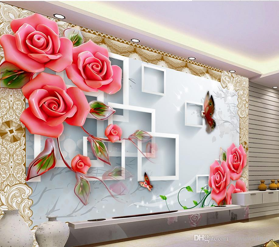 3D Box Jade Carved Roses TV Wall Decoration Painting Mural