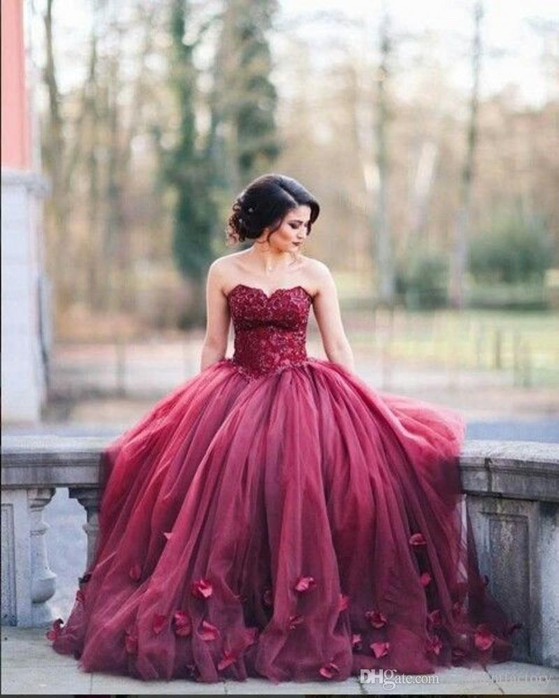 Compre Vestido De Baile De Borgoña Vestidos De Baile De Novia Cuello ...