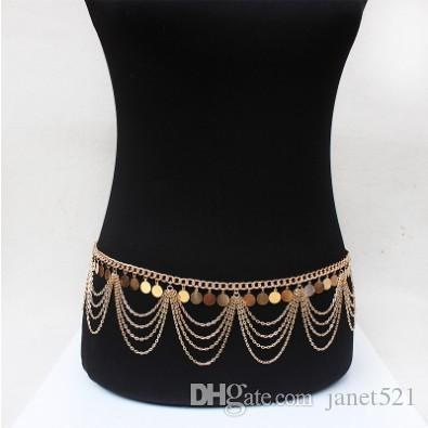 Vintage Waist Chain Sequines Gold Plated Multi Layered Tassels Belly Dance Chain Bohemian Style Womens Body Jewelry Gifts Waist Chain