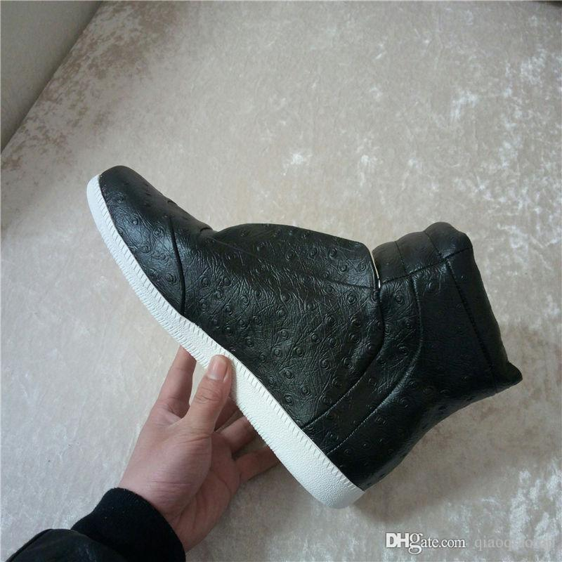 2018 brand Black ostrich pattern ankle boots White High Top mens Shoes 38-47
