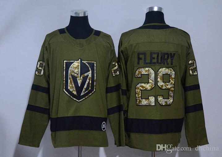 new arrival aeb7a 74600 New Vegas Golden Knights Jerseys #29 Fleury Jersey 2017 New Hockey Jerseys  Olive Color Army Camo Size 48-56 Mix Order All Jerseys