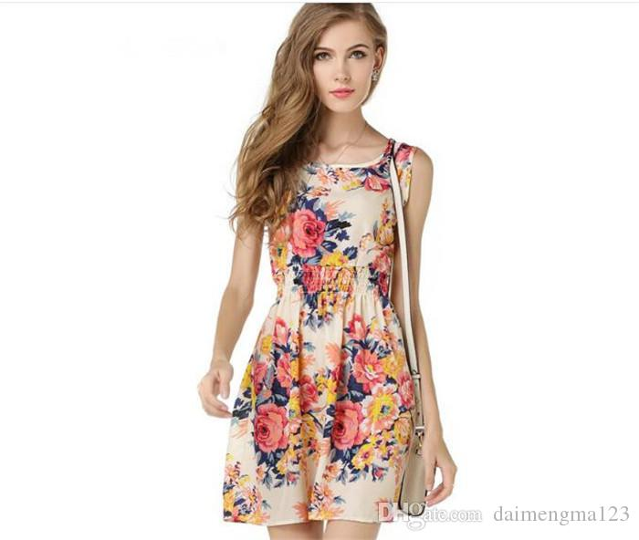 19 designs Women Casual flower Dress Plus Size Cheap Dress Fashion Sleeveless Summer Dress M051
