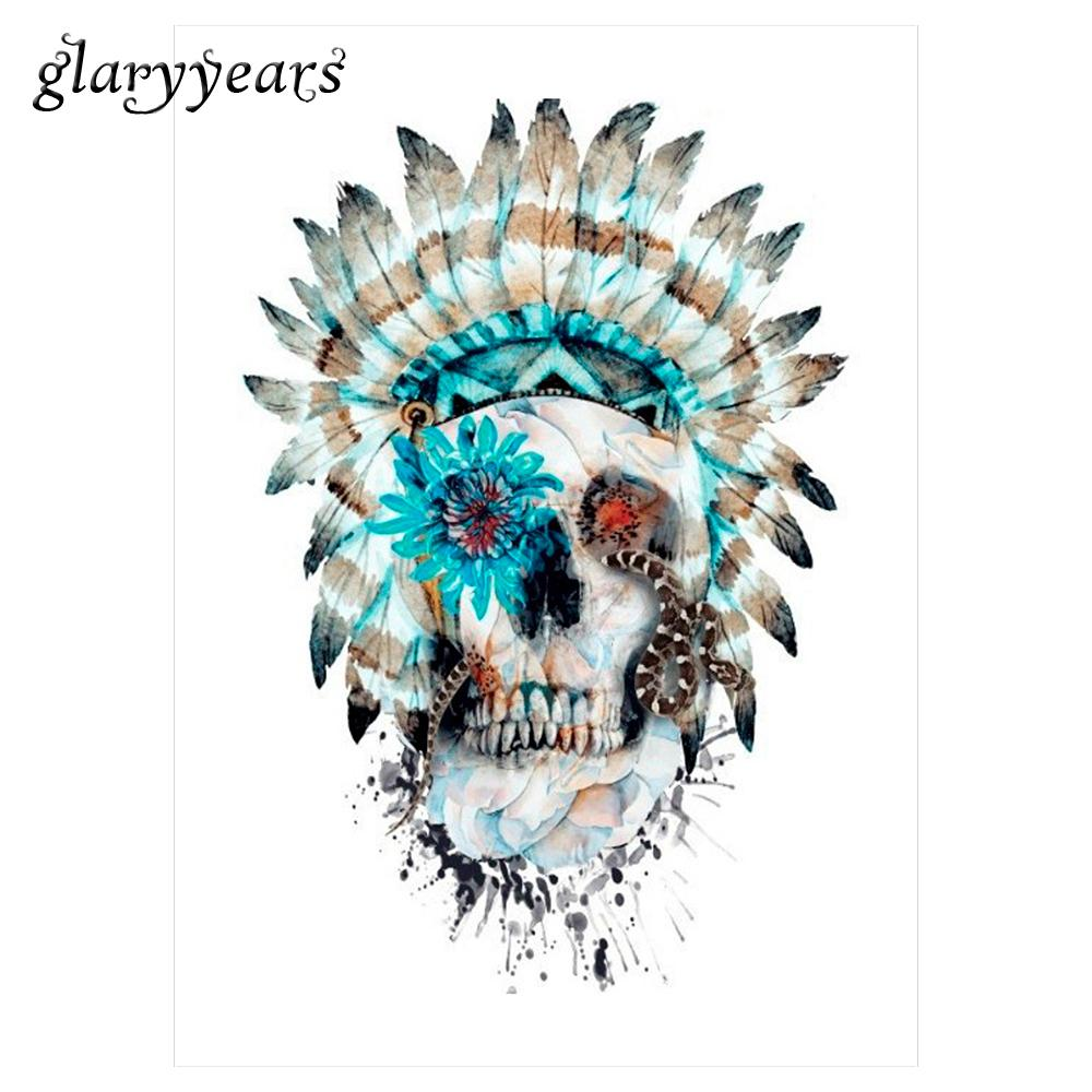 Wholesale waterproof body art tattoo sticker km 043 tribe indian women men skull snake pattern decal temporary colorful drawing tattoo jewelry temporary