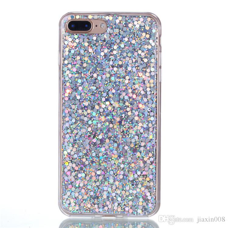 Fashion Flash slice Phone Case For Coque iPhone 7 Plus Cover Acrylic Soft TPU silicon Mobile Phone Case For iPhone 8 Plus
