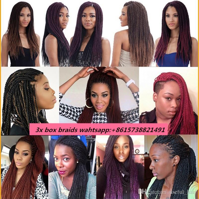 ombre hair bundles Senegal braid 18inch senegalese twist braid 2x pre-loop synthetic braiding hair crochet hair extensions cloud nine