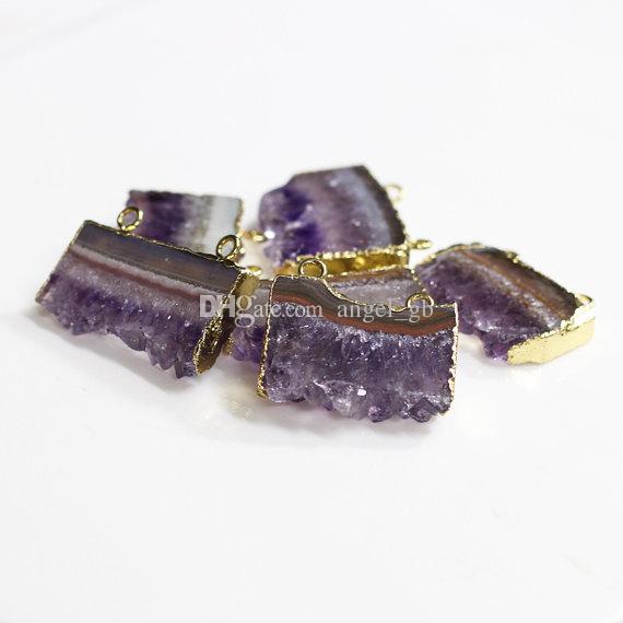 Ametista a doppia ciondolo con ciondolo con ametista placcato oro Amethyst Druzy quarzo pendente con pietra ametista gioielli PI0F2_1