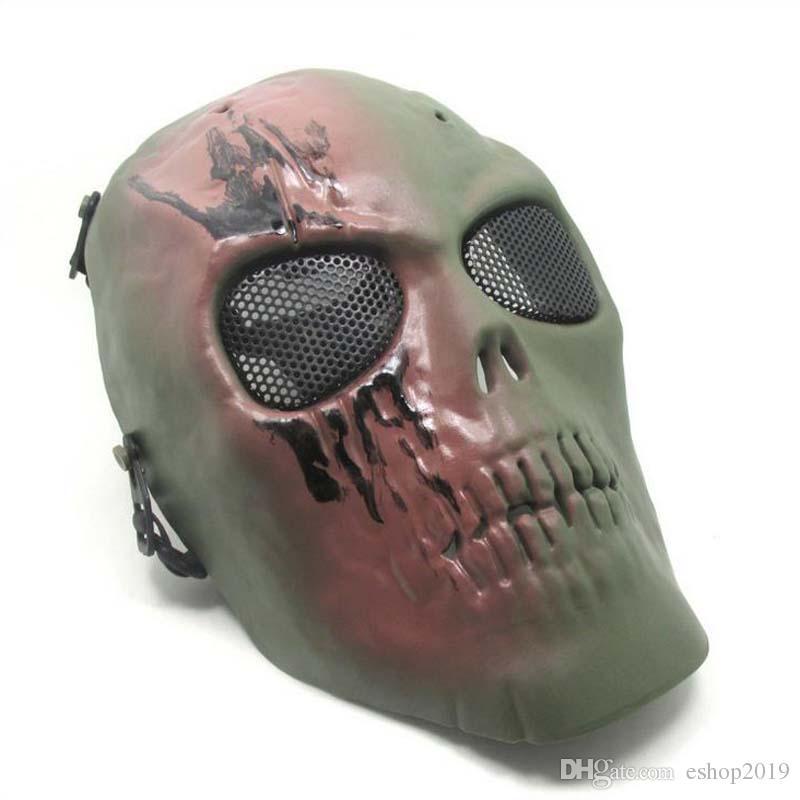 2017 nuevo ejército de malla máscara facial completa Skull Skeleton Gun Game Protect máscara de seguridad envío gratis