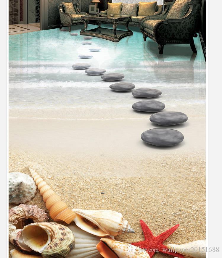 High Quality Customize size Modern Beach starfish shell stone bathroom 3D floor tiles waterproof wallpaper for bathroom wall