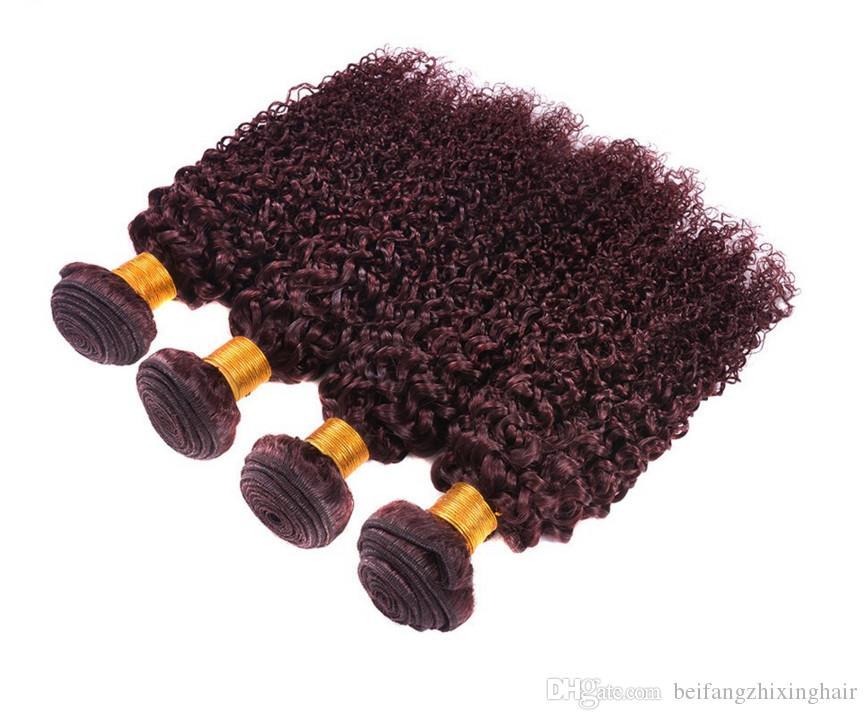 2018 новый стиль Бургундия наращивание волос кудрявый вьющиеся 100 г 3 шт./лот бразильский перуанский 99J человеческих волос ткет красное вино цвет