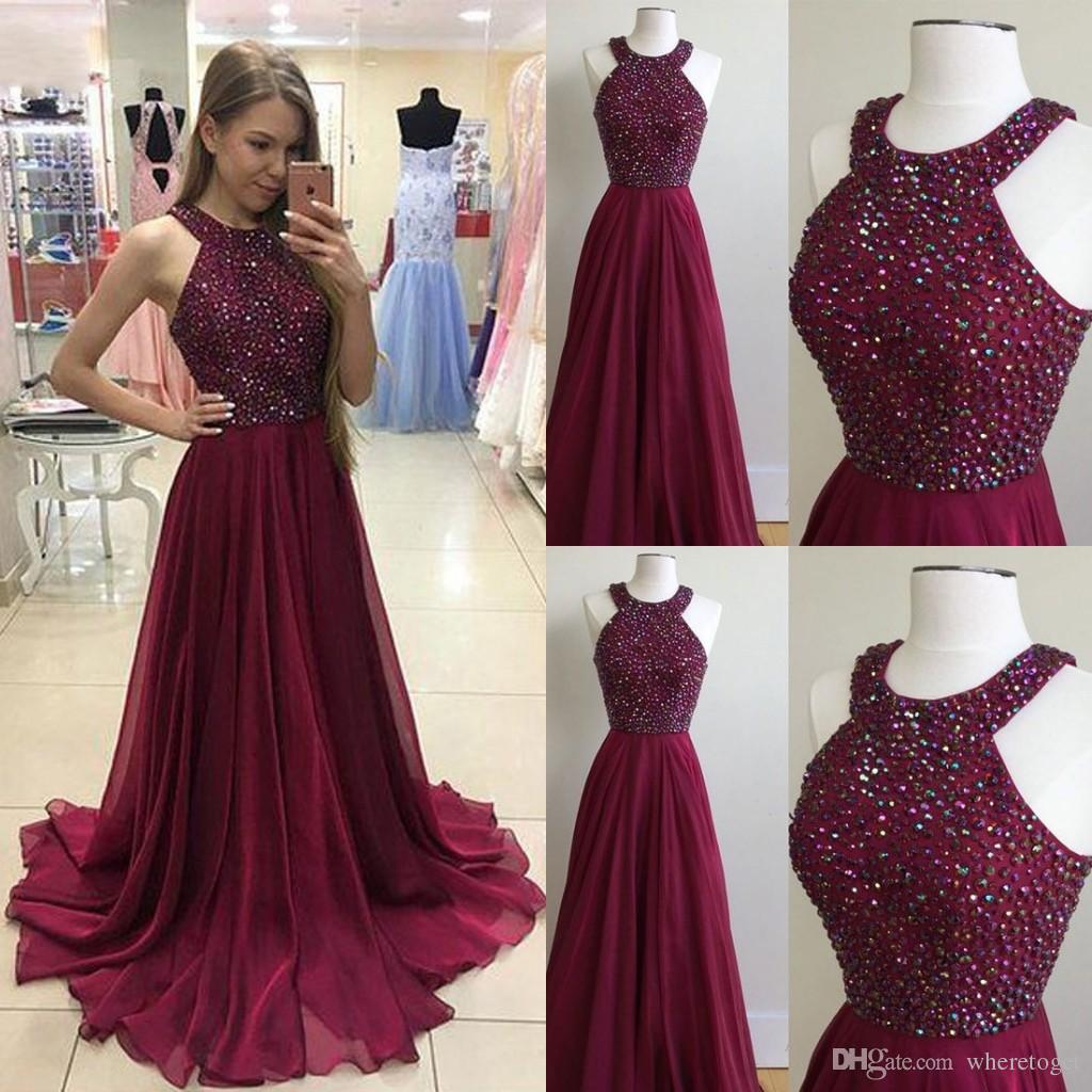 db67f6e2c4c Acquista Summer Chiffon Borgogna Prom Dresses 2018 Bling Beading Halter  Abiti Da Sera Backless Plus Size Abiti Da Sera Da Cerimonia Party Dress Wear  A ...