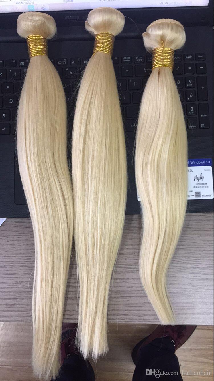 8A البلاتين شقراء الشعر على التوالي، 613 الشعر البرازيلي 3 حزم، ملون طول 8-30inch، غير المجهزة لحمة نسج شعرة الإنسان
