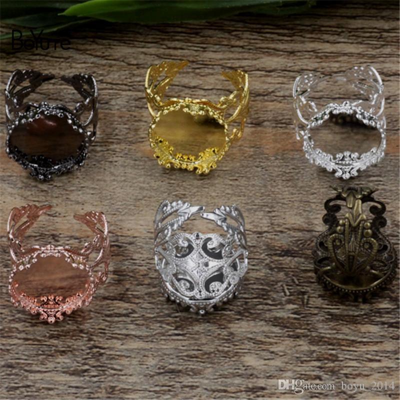 BoYuTe 6 couleurs plaqué paramètres de base de bague réglable avec 15MM 20MM Cabochon plateau vide lunette résultats de bijoux
