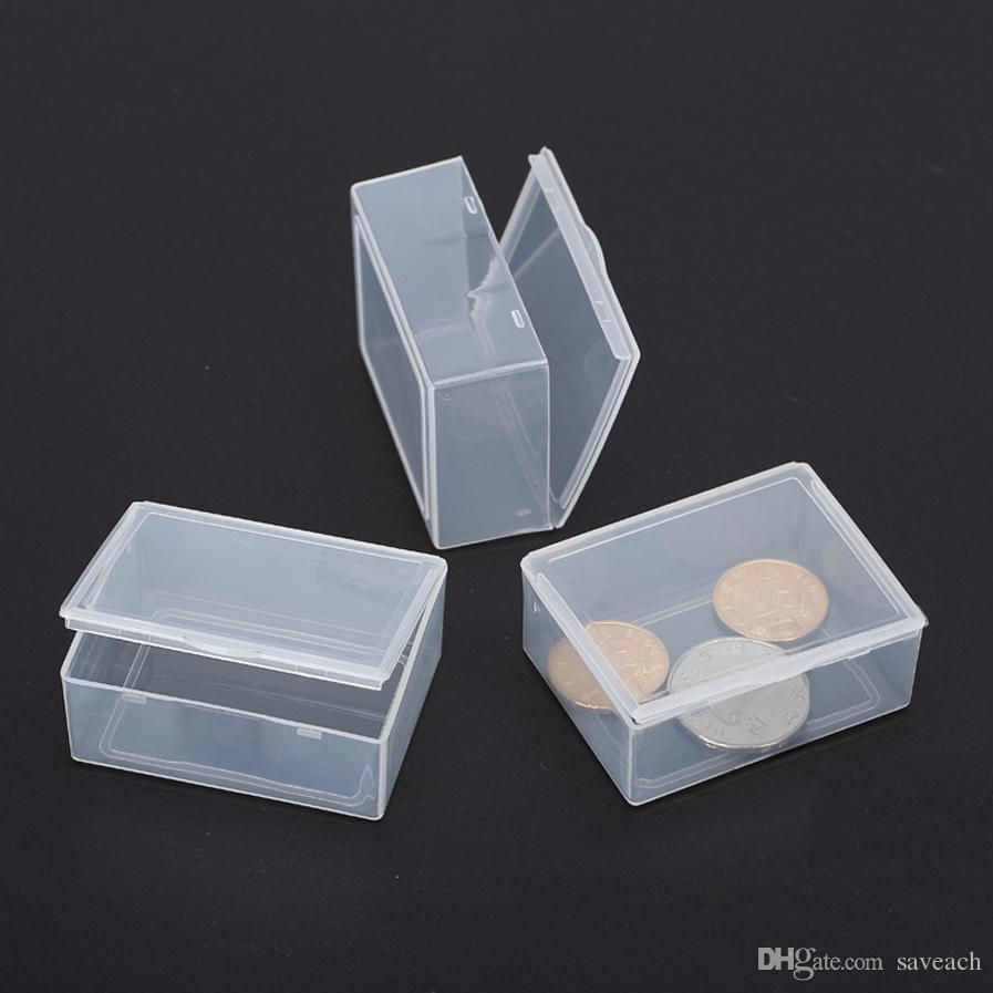 5.3 * 4 * 1.9 CM Mini Hard Clear Plastic Jewelry Craft Beads Maquillaje Caja de almacenamiento Caja / Organizador / Titular / Contenedor