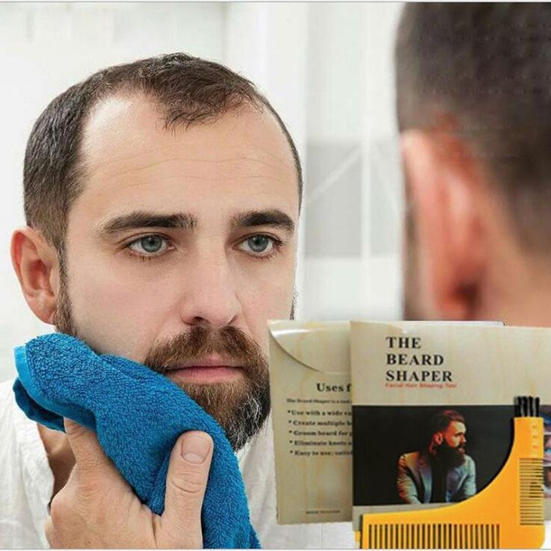 Moda Groomarang Beard Symmetry Styling Shaping Template Peine Trimming Facial Hair Beard Herramientas de modelado con papel de color Embalaje