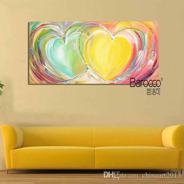 Moderno astratto colorato cuore dipinto a mano 100% olio su tela spessa decorazione della casa di moda dipinti di arte della parete