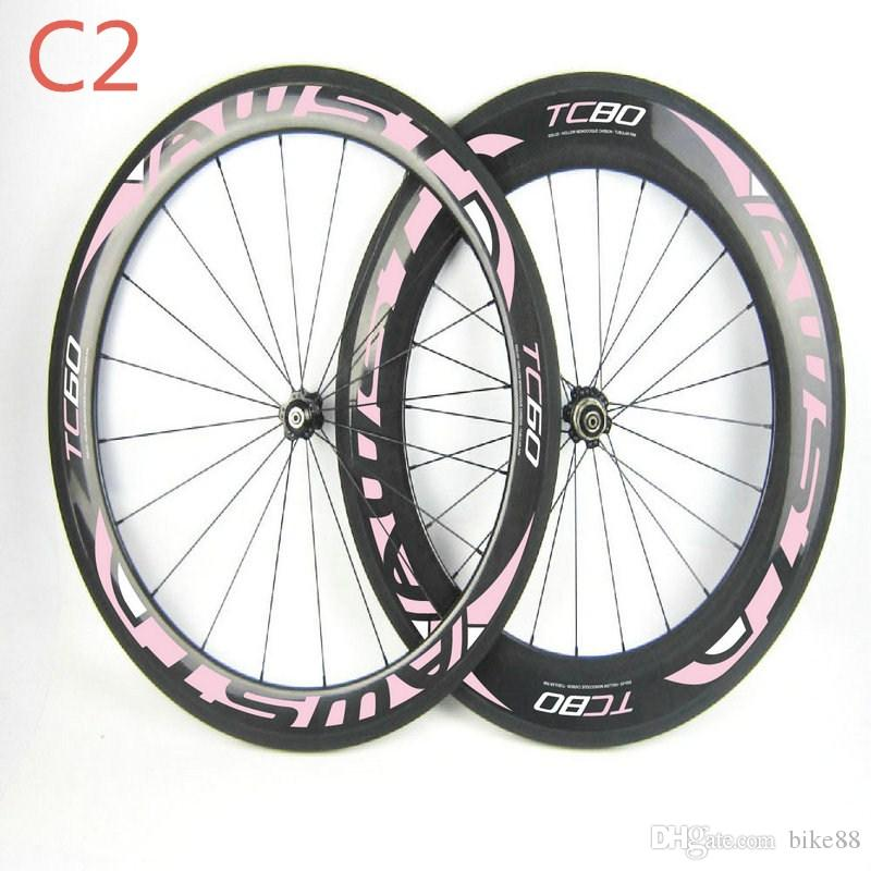 Chinese carbon wheels 700C DU glossy clincher/tubular green decal bicycle carbon wheels 60mm and 88mm road bike carbon wheels