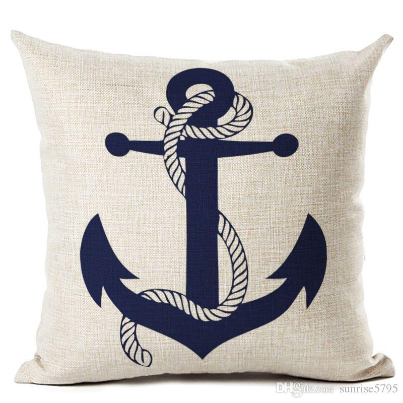 Nautical Anchor Decor Vintage Cushion Cover Shabby Chic