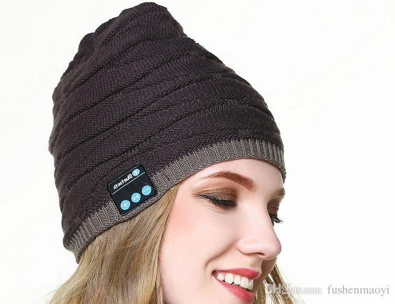 New Bluetooth music hats Winter Fish tattoo Knit wool beanies hats Outdoor sport music caps