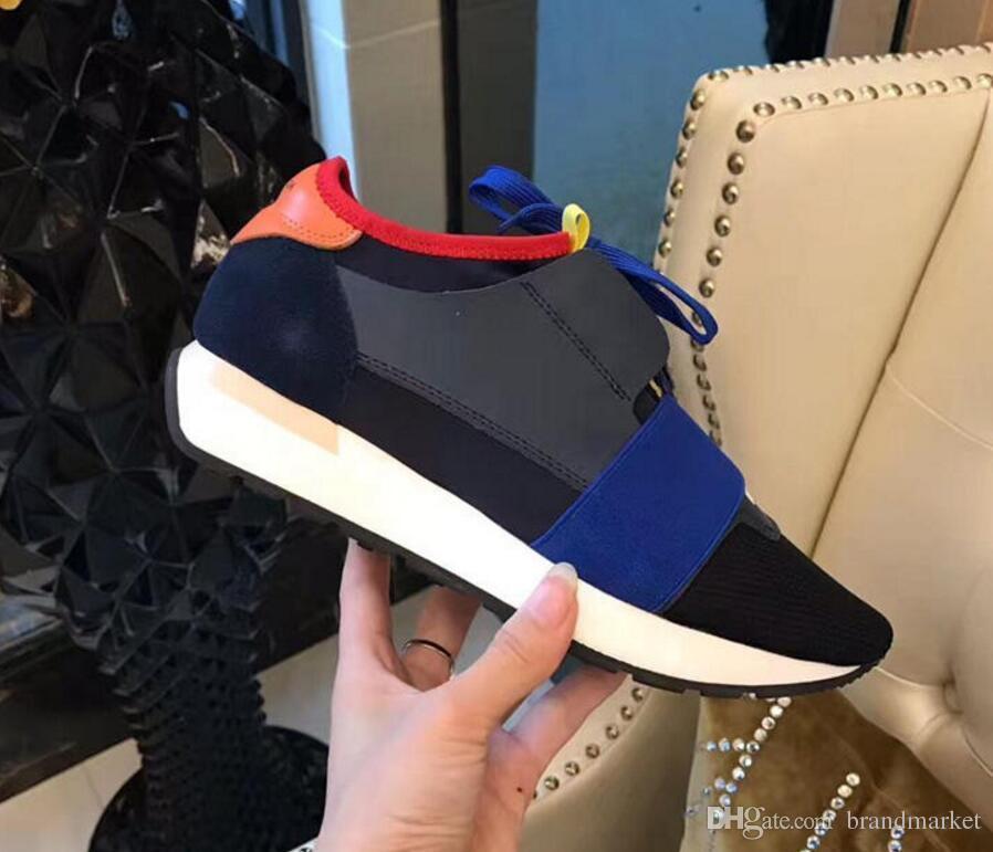 2018 Yeni Popüler Tasarımcı Yüksek Kalite Adam kadının Moda Low Cut Dantel Up Nefes Örgü Sneaker Ayakkabı Açık Havada Yarış Koşucu Rahat Ayakkabı
