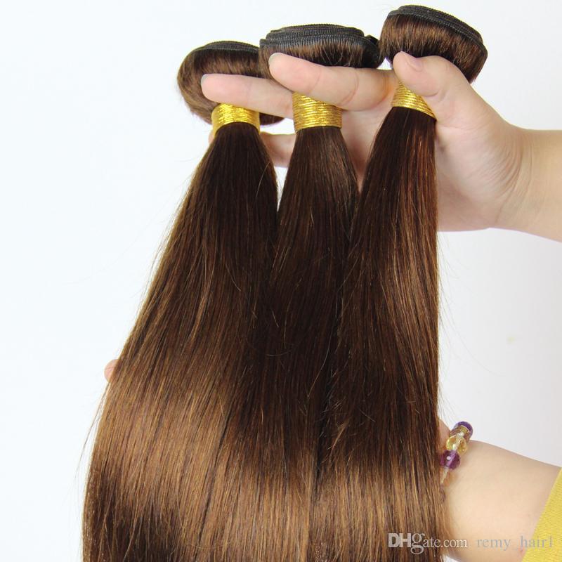 # 4 Mittelbraune indische Haarsträhnen Seidiges gerades Menschenhaar bündelt Angebote 7A Unverarbeitetes indisches Menschenhaar-schokoladenbraunes Haar spinnt