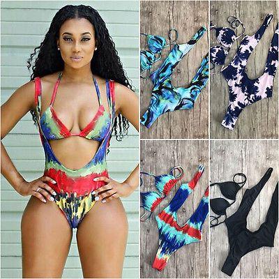 Ein Stück Badeanzug 2017 Sexy Bademode Frauen Badeanzug Schwimmen Vintage Beach Wear Print Verband drücken Monokini Badeanzug
