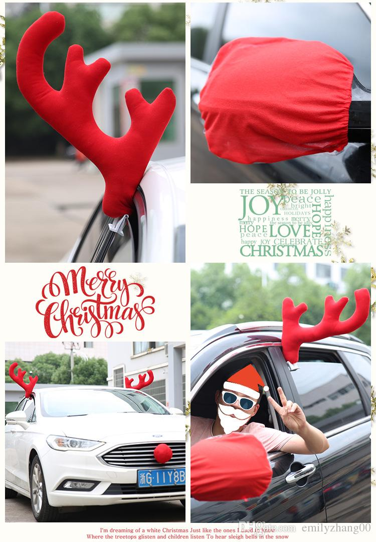 Car Window Roof Front Accessories Rudolf Reindeer Antlers Easy Install Rooftop Antler and Grille Nose Christmas Gift Present