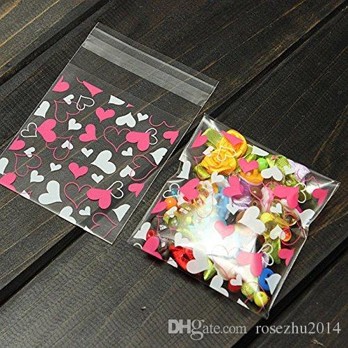 Mini Pink Heart Packaging Bag Clear Cellophane Cookie Sweet Package Wedding Birthday Candy Party For Gusset 7cm*7cm+3cm