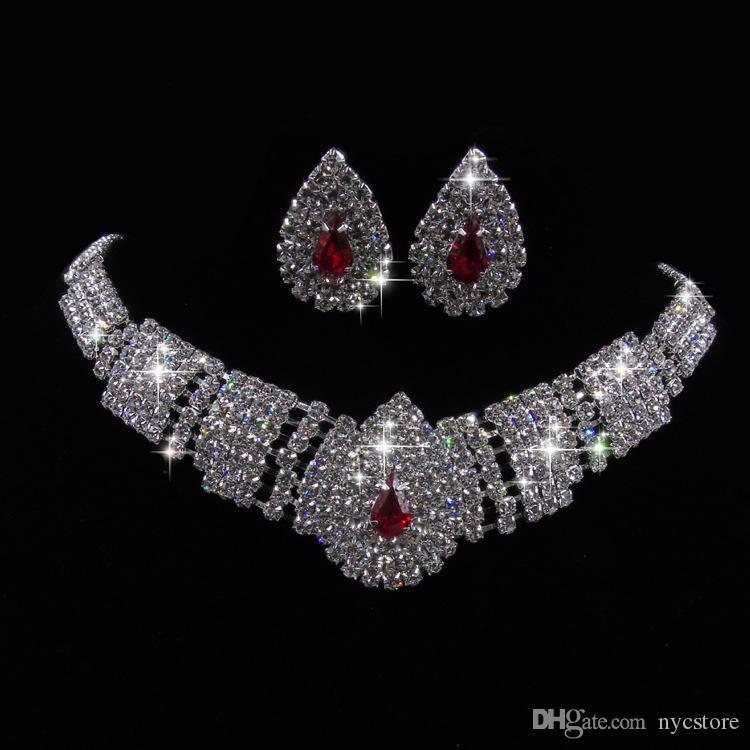 Lady Fashion Wedding Party Wedding Black Crystal Silver Pendant Necklace Orecchini Set gioielli vestito coreano Set nuovo design